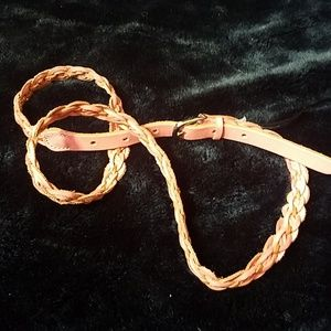 Express leather braided pink belt